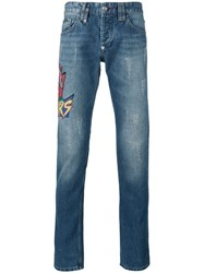 Philipp Plein Embroidered Patch Jeans Blue