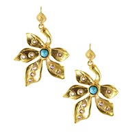 Ottoman Hands Pearl And Turquoise Leaf Beaded Earrings Gold Blue White
