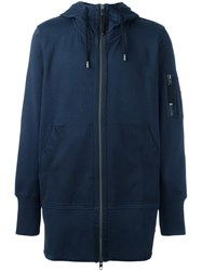 Diesel Black Gold Zip Up Long Hoodie Blue
