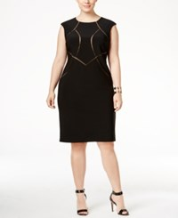 Inc International Concepts Plus Size Mesh Inset Sheath Dress Only At Macy's Deep Black
