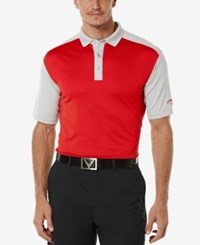 Callaway Men's Athletic Colorblocked Golf Polo Tango Red