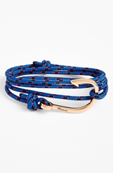 Miansai Rose Gold Hook Rope Bracelet Blue