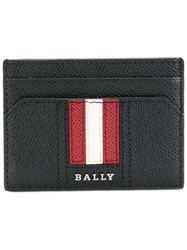 Bally Striped Cardholder Calf Leather Black