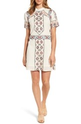 Kas New York Ginger Embroidered Shift Dress Off White