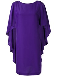 Alberta Ferretti Ruffled Sleeves Shift Dress Women Silk 48 Pink Purple