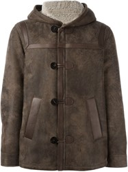 Neil Barrett Hooded Leather Jacket Brown