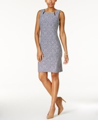 Charter Club Petite Printed Keyhole Sheath Dress Only At Macy's Intrepid Blue Combo