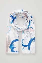 Cos Abstract Cotton Silk Scarf White
