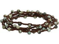 Feathered Soul Men's Moss Turquoise Bead And Braided Silk Wrap Bracelet