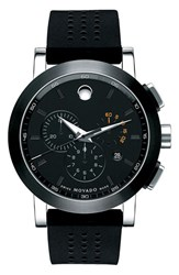 Movado Women's 'Museum' Chronograph Rubber Strap Watch 44Mm