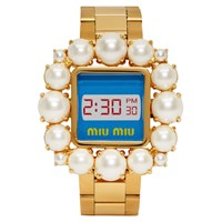 Miu Miu Gold And Blue Pearl Watch Bracelet
