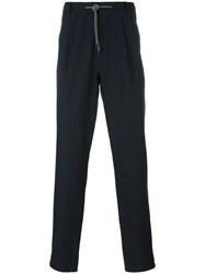 Brunello Cucinelli Pinstripe Straight Trousers Blue
