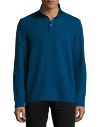 Michael Kors Mock Collar Sweater W Nylon Elbow Patches River Blue