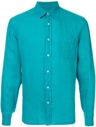 120 Lino Long Sleeve Shirt Blue