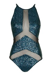 Black Holographic Sequin Swimsuit By Jaded London