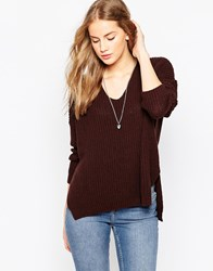 Asos Ultimate Chunky Jumper With V Neck Brown
