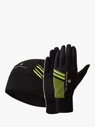 Ronhill Beanie And Glove Set Black Fluo Yellow
