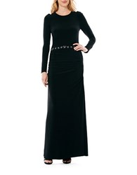 Laundry By Shelli Segal Beaded Waistband Matte Jersey Gown Black