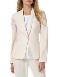 Laundry By Shelli Segal Lace Inset Shawl Collar Jacket Silver Peony