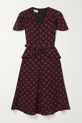 Michael Kors Collection Belted Polka Dot Silk Crepe De Chine Peplum Dress Black
