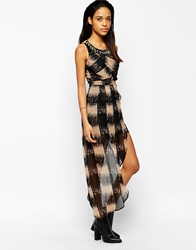 Rock And Religion Ronah Cross Front Embellished Asymetric Dress Black