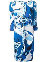 Emilio Pucci Vintage Abstract Print Dress Blue