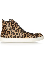Charlotte Olympia Purrrfect Leopard Print Calf Hair High Top Sneakers