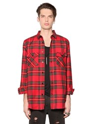 Les Artists Plaid Light Cotton Blend Flannel Shirt