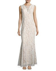 Betsy And Adam Lace Trumpet Gown Ivory Nude