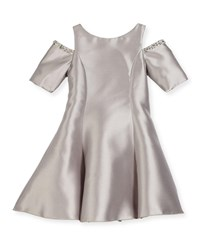 Zoe Emme Cold Shoulder Fit And Flare Dress Silver