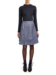 Alexis Mabille Top In Denim Jersey With Anchor Buttons Detail Blue