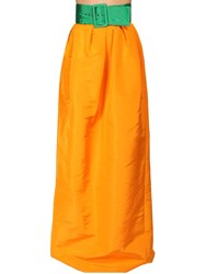 Rosie Assoulin High Waist Silk Faille Maxi Skirt Orange