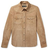 Tom Ford Suede Shirt Jacket Tan