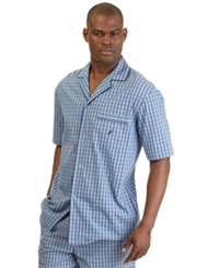 Nautica Men's Woven Plaid Pajama Shirt Cornflower Blue
