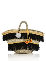 Micaela Spadoni Large Fringed And Faux Fur Pom Pom Straw Tote Multi