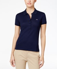 Lacoste Five Button Slim Fit Polo Navy