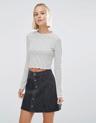 Asos Crop Top In Stripe Rib White Black Multi