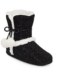 Chinese Laundry Faux Fur Trimmed Cable Knit Boot Slippers Black