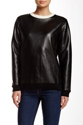 French Connection Faux Leather Sweater Black