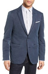 Sand Men's Trim Fit Cotton And Linen Blazer Navy