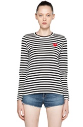 Comme Des Garcons Play Cotton Red Emblem Stripe Tee In Stripes Black