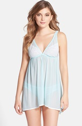 Fleurt Lace Applique Tulle Babydoll With Bikini Powder Blue Ivory