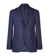 Corneliani Woven Wool Blend Jacket Male Navy