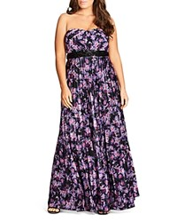 City Chic Helena Printed Maxi Dress Purple Flower