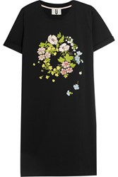 Topshop Unique Bisham Embroidered Cotton Jersey T Shirt Dress Black