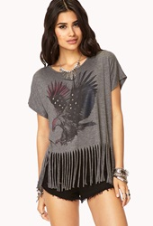 Forever 21 Fringed Eagle Tee Charcoal Red