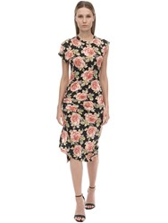 Paco Rabanne Printed Knee Length Viscose Jersey Dress Multicolor