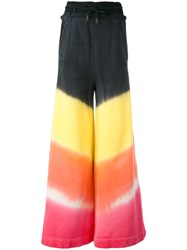 Off White Wide Leg Tye Dye Trousers Women Cotton Polyester Xs Black