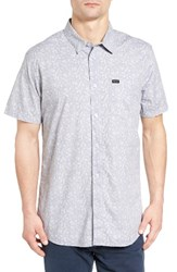 Rvca Men's Sea And Destroy Print Woven Shirt Smoke Purple