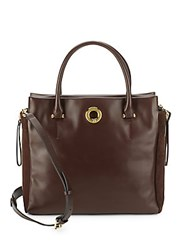 Sergio Rossi Halston Leather And Suede Handbag Espresso